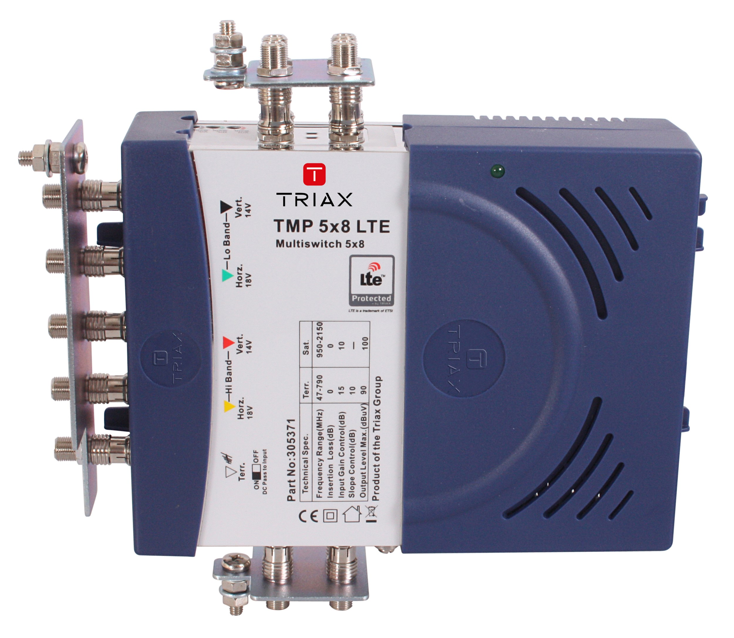 Triax Multiswitches Multiswitch Light Wiring Diagram Tmp 5x8 Stand Alone 4sat 1ter Psu 8out Lte Protected